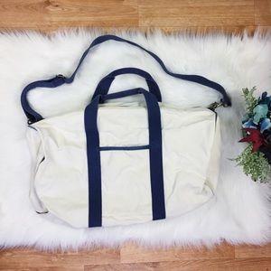 J. Crew White & Blue Medium - Large Duffle Bag